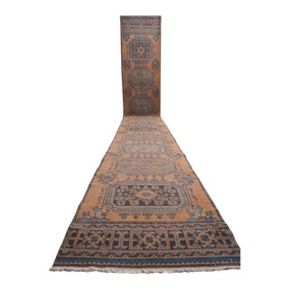 "Extra Long Runner Rug Distressed Oushak Runner Turkish Rug - 2'8"" X 21'6"" For Sale"