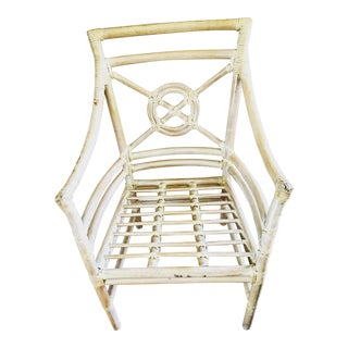 Vintage White Rattan Bamboo Patio Chairs - Set of 4 For Sale