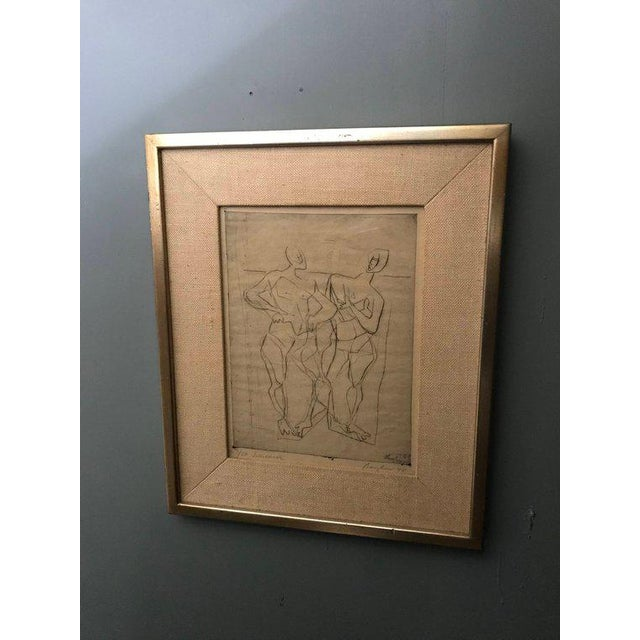 Etching 1948 Germany Abstract Figural Etchings by Eduard Bargheer For Sale - Image 7 of 9