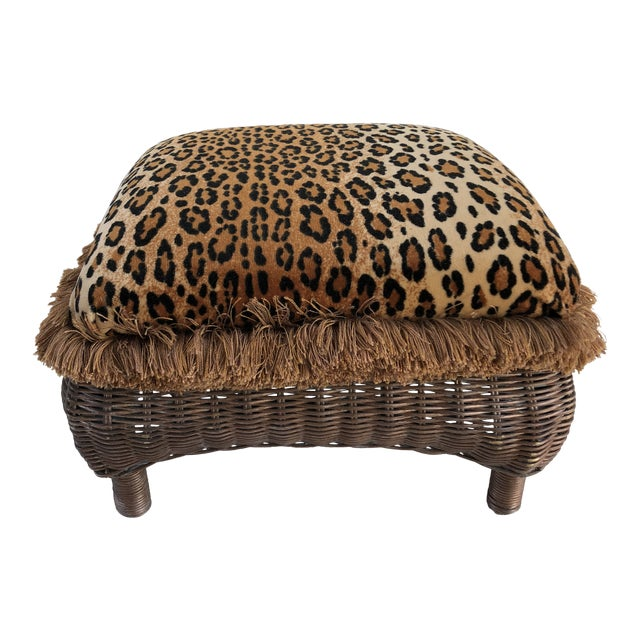 Vintage Boho Chic Hollywood Glam Fringed Wicker Leopard Stool For Sale