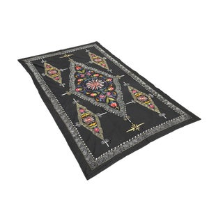 1980s Black Suzani Tapestry With Traditional Patterns For Sale