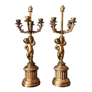 Brass Angel Candelabras - a Pair