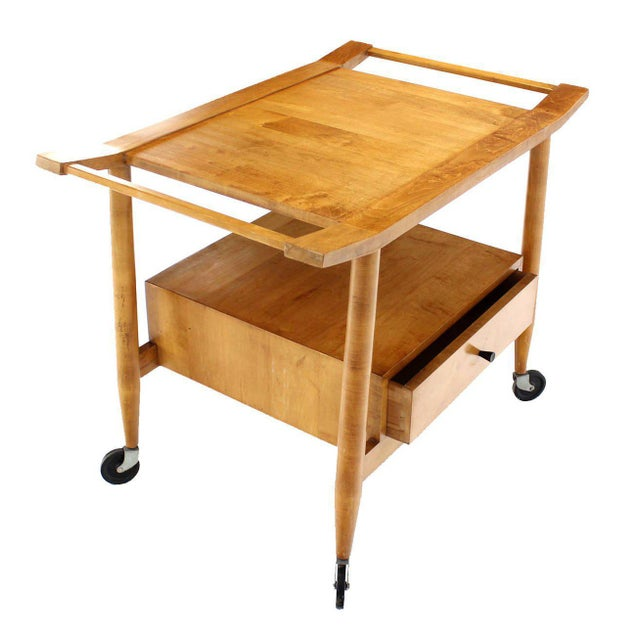 Mid-Century Modern Solid Birch Cart Serving Table For Sale - Image 10 of 10