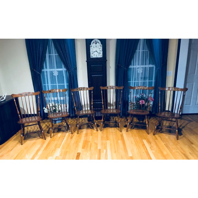 Early American Mid 20th Century Hitchcock Maple Windsor Dining Chairs - Set of 6 For Sale - Image 3 of 3