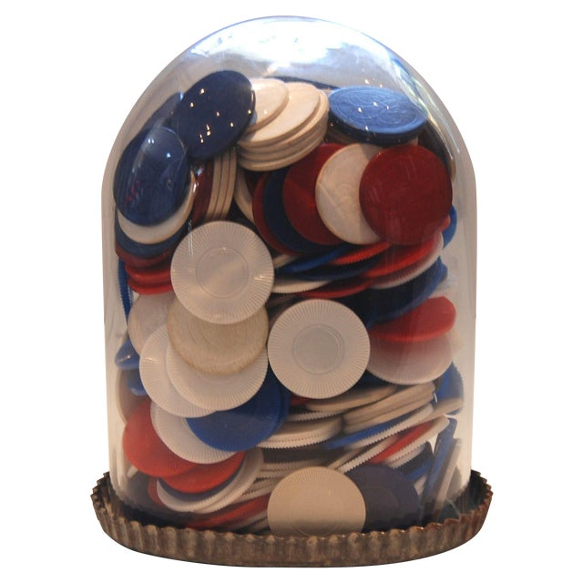Poker Chips Under Glass - Image 1 of 6
