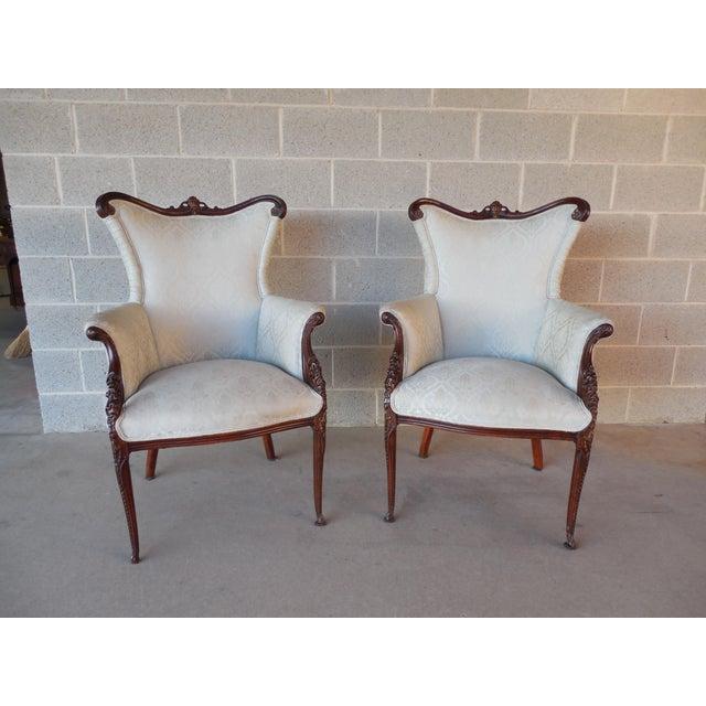 Regency Style Mahogany Frame Bergeres - A Pair - Image 2 of 11