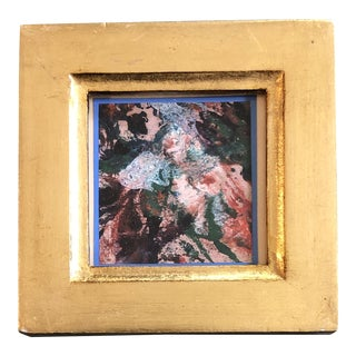 Original Vintage Miniature Abstract Oil Painting Italian Gilt Wood Frame For Sale