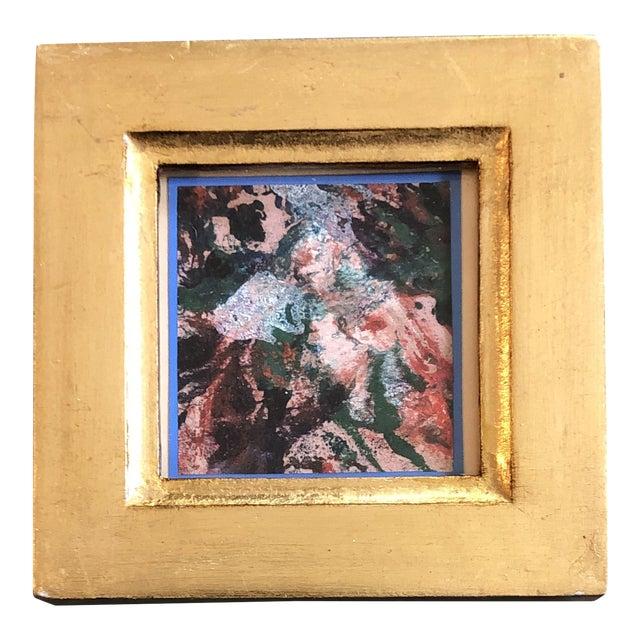 Original Vintage Miniature Abstract Oil Painting Italian Gilt Wood Frame For Sale