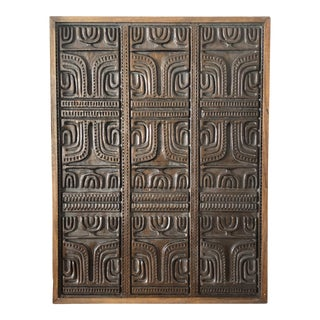 Mid Century Modern Evelyn Ackerman Wood Carved Panel For Sale