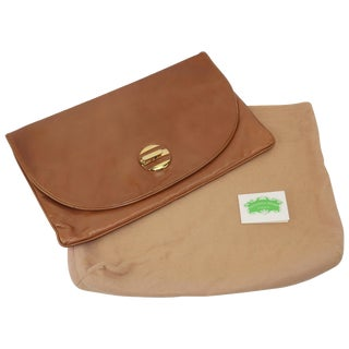 1970's Bottega Veneta Large Envelope Leather Clutch Handbag For Sale