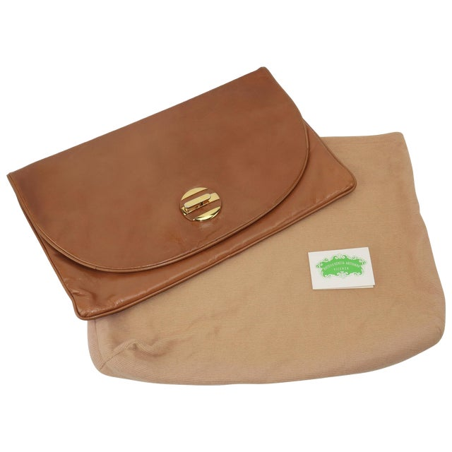 1970's Bottega Veneta Large Envelope Leather Clutch Handbag For Sale