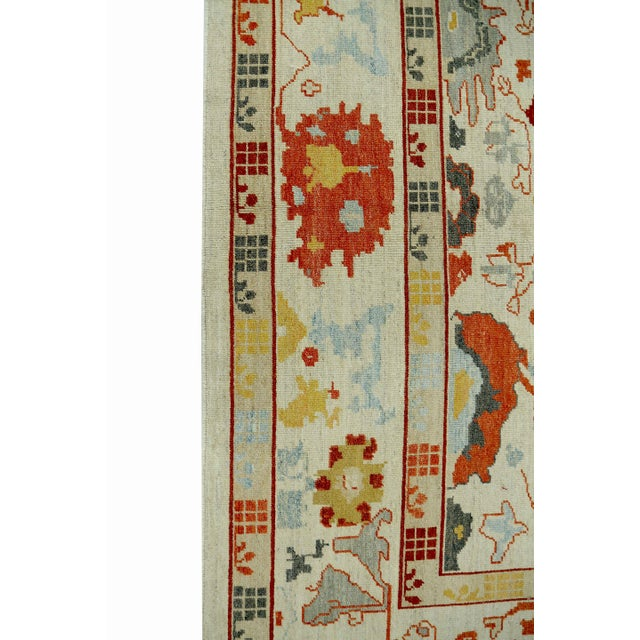 Textile Turkish Oushak Rug With Red & Yellow Floral Details on Ivory Field For Sale - Image 7 of 10