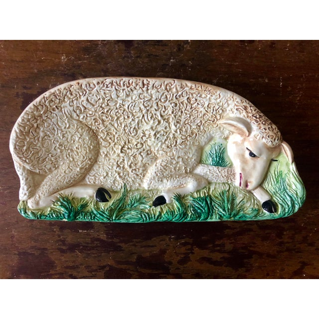 Vintage Italian Pottery Sheep Dish For Sale - Image 4 of 4