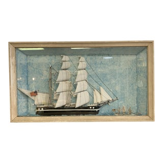 Vintage Nautical Diorama Art Piece in Shadowbox For Sale