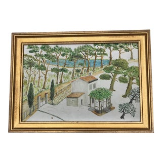 20th Century French Oil Painting on Board of Naive Landscape