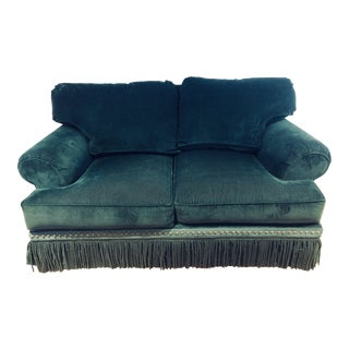 Modern Emerald Green Corduroy Love Seat For Sale