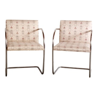 Mid Century Modern Mies Van Der Rohe Style Chrome Arm Chairs- A Pair For Sale