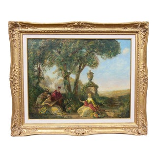 Large Antique Summer Garden Scene Painting by Frederick Ballard Williams For Sale