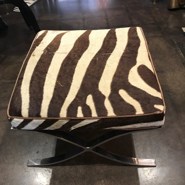 Mid-Century Modern Barcelona Stools With Zebra Hide Cushions - A Pair For Sale - Image 3 of 5