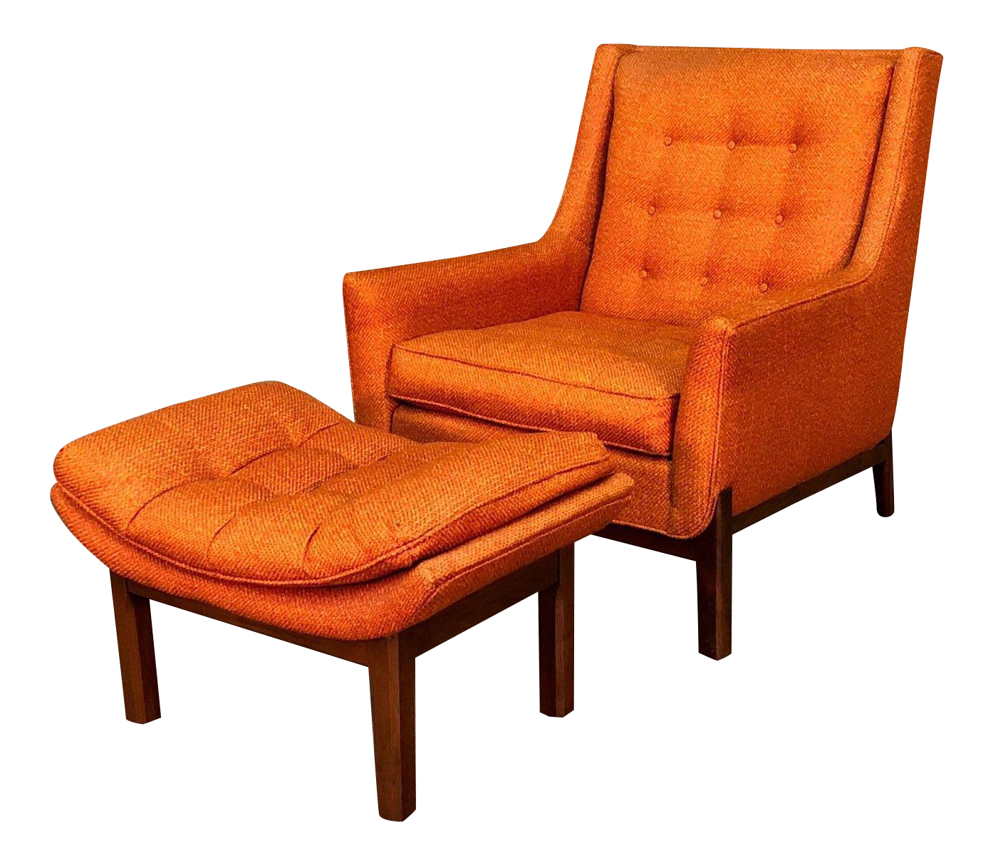 Awesome Rowe Orange Tweed Mid Century Modern Lounge Chair With Ottoman