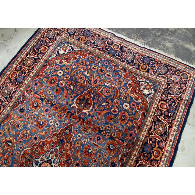 Blue 1900s, Handmade Antique Persian Kashan Rug 4.1' X 6.6' - 1b706 For Sale - Image 8 of 12