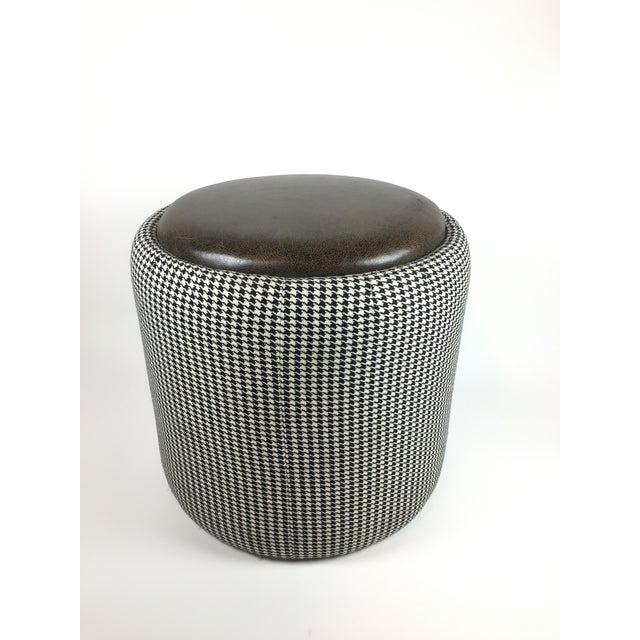 Lily Jack Leather Ottoman With Houndstooth Upholstery For Sale - Image 4 of 4