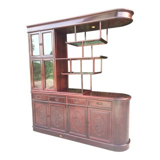 Asian Chinoiserie Two-sided Redwood China Cabinet For Sale