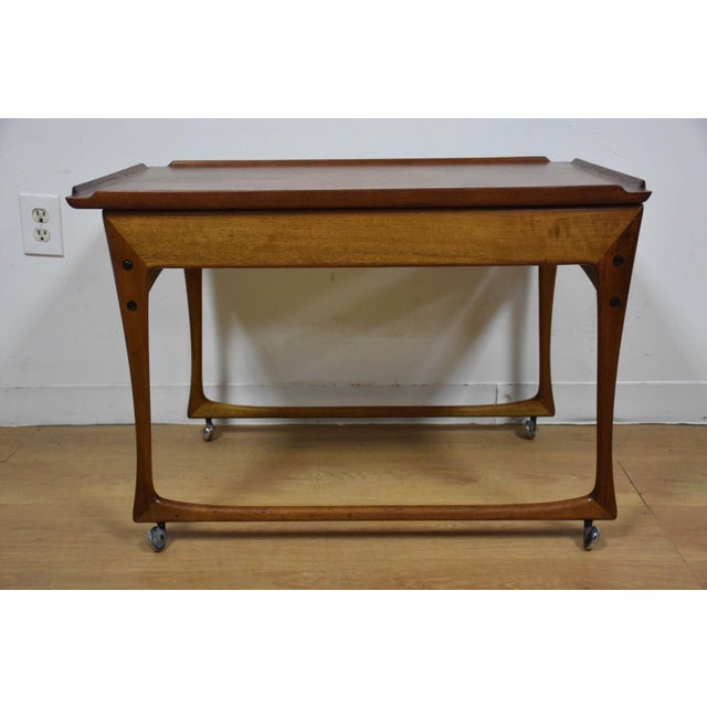 Ingvard Jensen Rolling Teak Bar Cart - Image 4 of 11