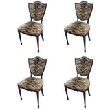 Image of Shield-Back Chairs Upholstered in Animal Fabric - Set of 4 For Sale