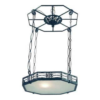 Art Deco Signed Piguet Wrought Iron Chandelier For Sale