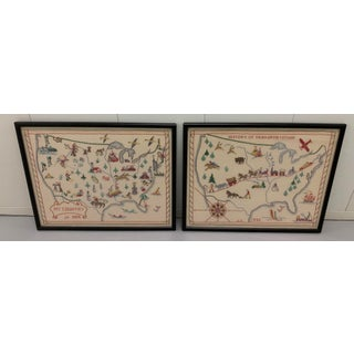 Pair of 1956 Framed Crewelwork United States Maps Preview