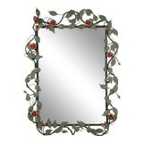 Image of Mid-century Italian Toleware Rose Wall Mirror For Sale