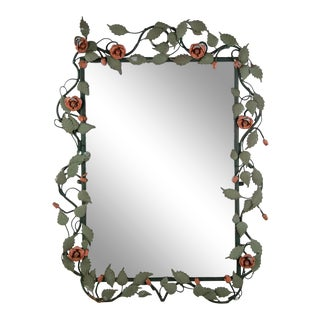 Mid-century Italian Toleware Rose Wall Mirror For Sale