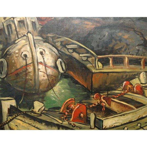 Art Deco Wpa Style Ship Paintings - Set of 4 For Sale - Image 3 of 10