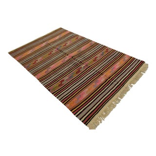 """Vintage Braided Rug. Flat Weave Area Rug - 4' 6"""" X 6' 11"""" For Sale"""