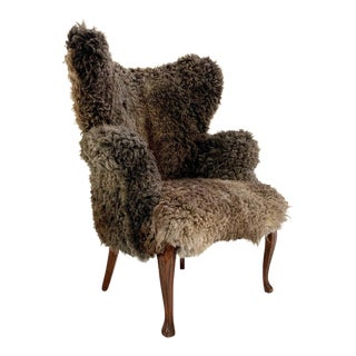 Vintage Nick Cave Armchair Restored in California Sheepskin For Sale