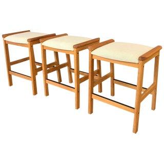 Set of 3 j.l. Møller Counter Stools for Højbjerg of Denmark For Sale