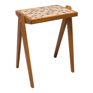 Small Mid Century Walnut and Tile Side Table For Sale