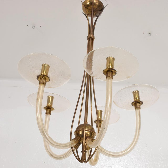 Mid Century Sculptural Modern Italian Murano Chandelier Five Arms For Sale - Image 10 of 11