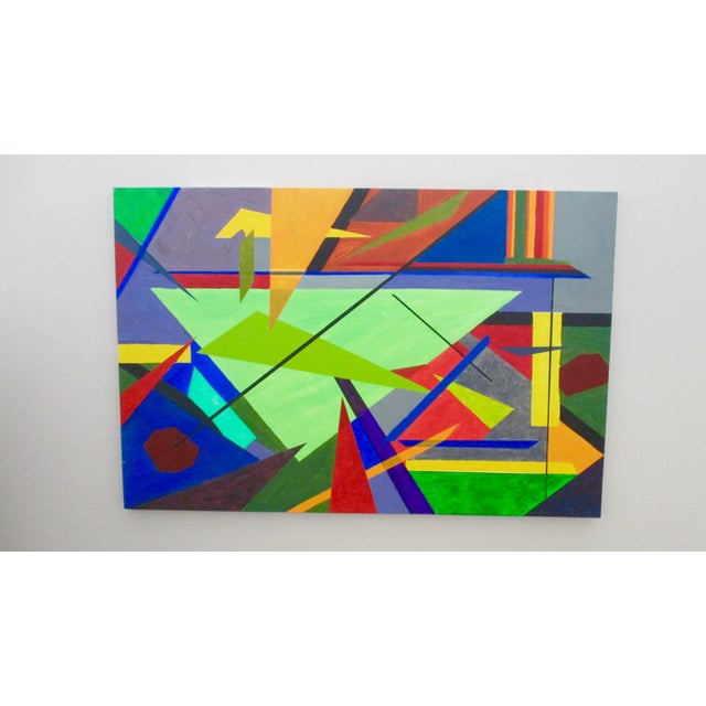 Abstract Hard Edge Acrylic Painting on Canvas For Sale - Image 9 of 9