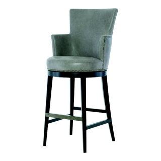 Century Furniture Ballentine Swivel Bar Stool, Granite Leather For Sale