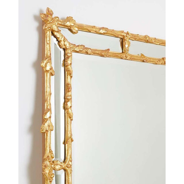 Italian Carved Gilt Wood Faux Bois Cushion Mirror For Sale - Image 4 of 13