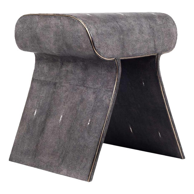 Dandy Stool in Black Shagreen With Bronze-Patina Brass Details by Kifu Paris For Sale