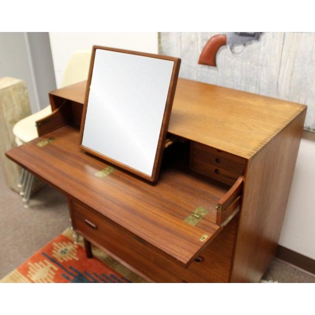 Glass 1950s Mid-Century Danish Modern Peter Hvidt Teak Vanity Dresser Cabinet For Sale - Image 7 of 13