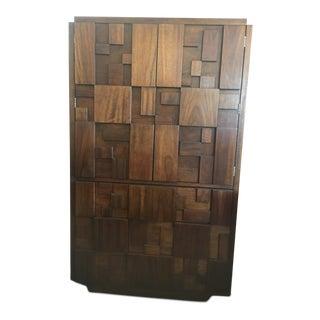 1970s Lane Brutalist Style Walnut Tallboy Dresser