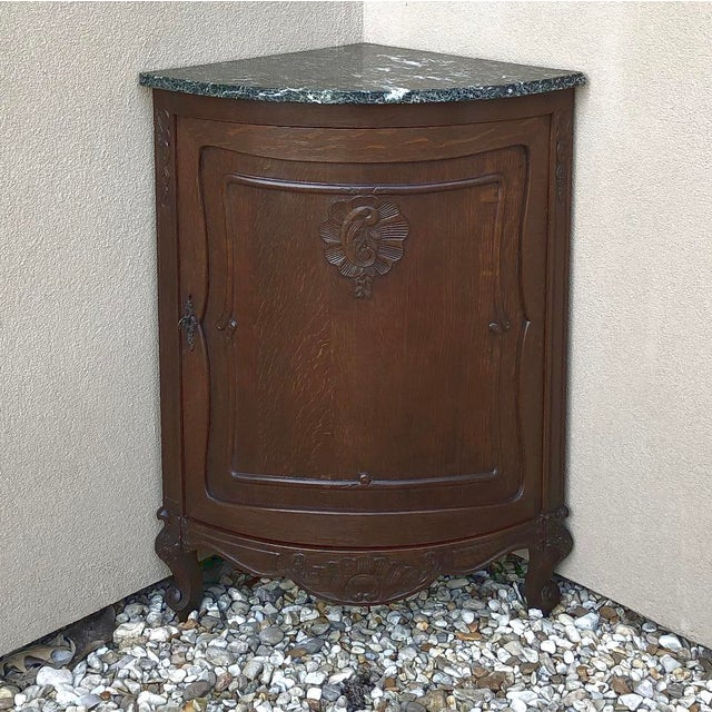 Antique French Louis XV Marble Top Corner Cabinet ~ Confiturier For Sale - Image 4 of 11