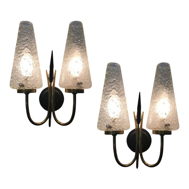 French 1950s Textured Glass and Brass Sconces - a Pair - Image 1 of 4