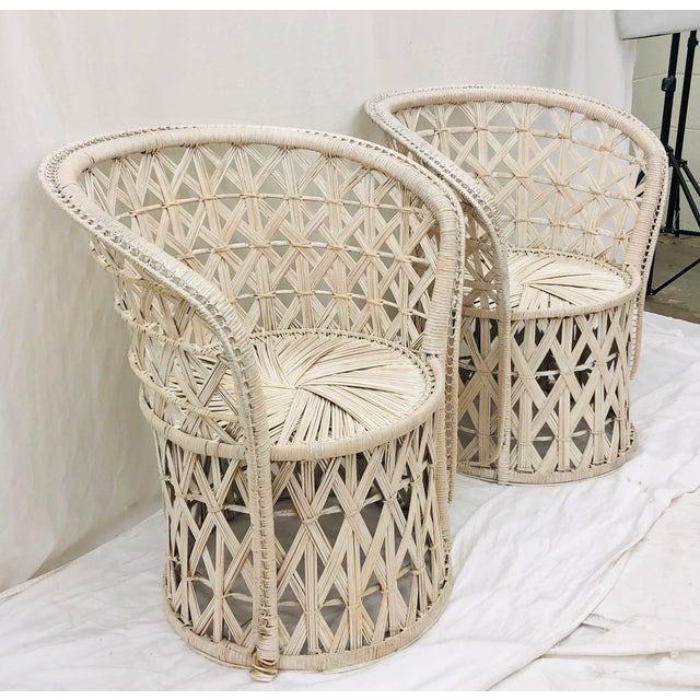 Pair Boho Chic White Wicker & Rattan Chairs For Sale In Raleigh - Image 6 of 13