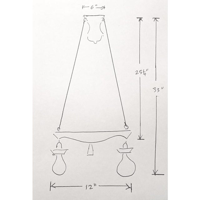 Pair of Two Victorian Original Flush Mount Chandelier - Image 6 of 8