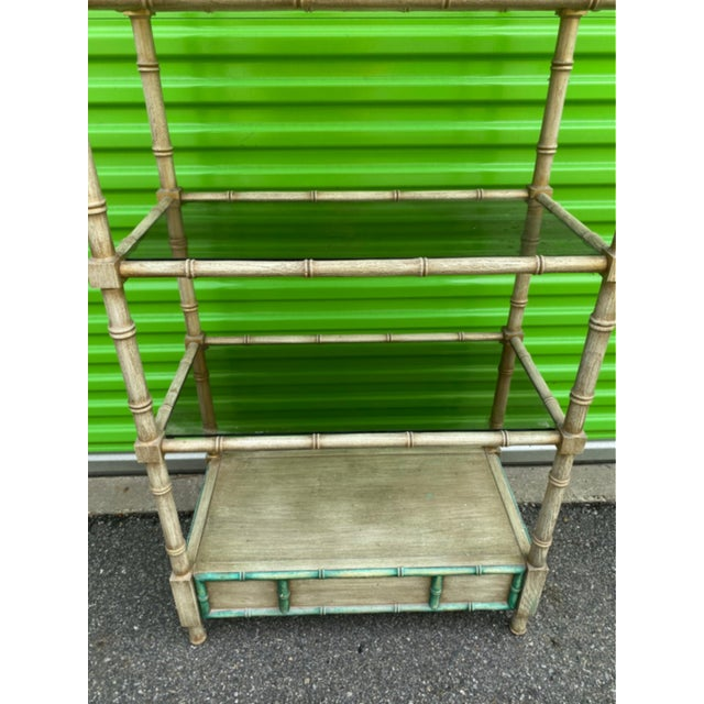 Wood Mid-Century Modern Faux Bamboo Etagere For Sale - Image 7 of 10